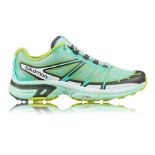 Salomon Wings Pro 2 Womens White Green Trail Running Sports Shoes Trainers