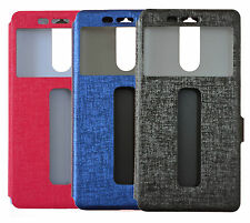 For Lenovo VIbe K5 Note Double Window Caller ID PU Leather Flip Cover Case