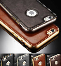 Luxury Leather Back Aluminum Metal Bumper Case Cover For iPhone SE 5S 6 6S