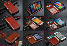LUXURY GENUINE WALLET PU Leather flip case cover 4 iPhone Samsung Galaxy Ph