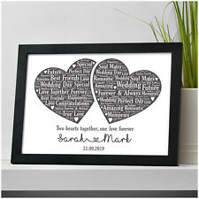 Personalised Wedding Word Art Mr & Mrs Gift - Wedding Love Heart Print Gift