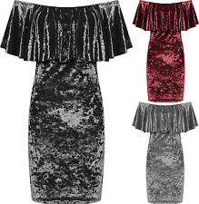 New Ladies Crushed Velour Party Dress Women Tiered Off Shoulder Bardot Velvet