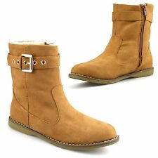 Ladies Womens Flat Faux Suede Warm Fur Lined Winter Zip Ankle Boots Shoes Size