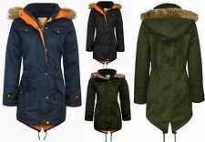Womens Ladies Parka Fur Jacket Coat Oversized Trench Fishtail Long Hooded Winter