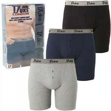 Duke New Mens Kingsize Big Cotton Boxer Shorts Button Fly XL Underwear 3 Pack