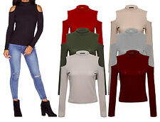 Ladies Long Sleeve Cold Cut Shoulder Women Turtle Neck Ribbed Celeb Inspired Top