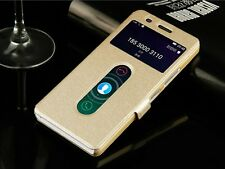 For Lenovo VIbe K5 Double Window Caller ID PU Leather Flip Cover Case