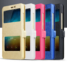 For Lenovo Zuk Z1 Double Window Caller ID PU Leather Flip Cover Case