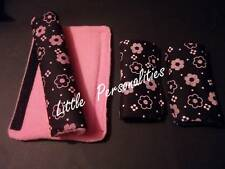 black pink daisy flower baby pram/buggy/car seat harness strap cover pads