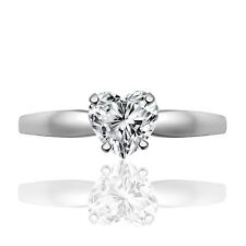 Silver Dew 925 Sterling Silver Solitaire Heart Stone Ring For Woman's