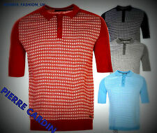 Mens  Pierre Cardin Knitted Jacquard Pattern Polo Shirt Top Size S-XXL Designer