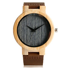 Casual Nature Wood Leather Strap Quartz Wrist Watch Bamboo Men Women Xmas Gift