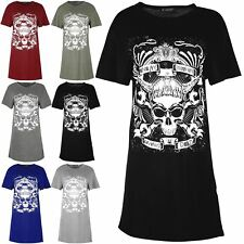 Womens Skull Enemy Within Living Dead Ladies Oversized Baggy Long T Shirt Dress