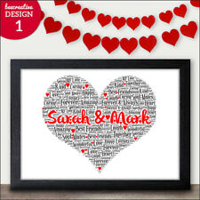 HEART WORD ART Personalised Christmas Gift for Him Her I Love You Gift Mr & Mrs