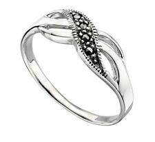 ELEMENTS SILVER Deco style Marcasite twist ring size K to R sterling silver