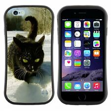 Anti-Drop Shockproof Heavy Duty Case For Apple iPhone Black cat on white snow