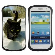 Anti-Drop Shockproof Heavy Duty Case For Samsung Black cat on white snow
