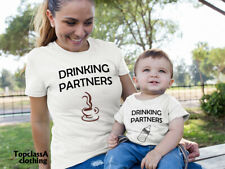 Drinking Partners Coffee Milk Bottle Mum Son Mother Daughter Matching T shirts