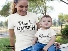 Miracles Happen & Miracle Mum Son Mother Daughter Blessing Matching T shirts