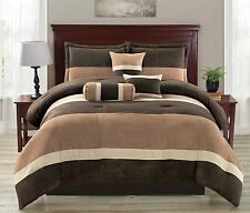 luxurious 7 Piece Brown Wendy Micro Suede Soft Bed in a Bag Comforter Set