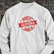 MADE IN CALIFORNIA LOS ANGELES HOLLYWOOD VACATION Mens White Long Sleeve T-Shirt