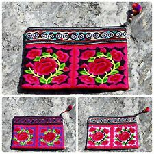 Thai Hippie Boho Hmong Floral Embroidered Purse Ethnic Mid Cosmetic Make Up Bag