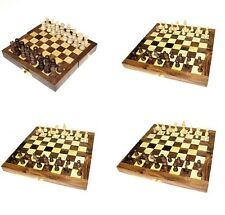 Hand Carved Fold Up Classic Wooden Chess Set Game Small Regular Large Extra