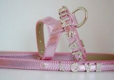 """PINK Ultra Bling Dog Puppy Harness & Lead ,N = 9 """"- 12"""", CH = 13""""- 16"""" Chihuahua"""