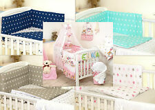 PINK OWL BABY GIRL BEDDING SET COT OR COT BED - COVERS BUMPER CANOPY BLANKET