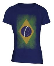 BRASILE SBIADITO BANDIERA DONNA T-SHIRT MAGLIETTA FOOTBALL MEANING