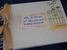 PERSONALISED LARGE GOLD & IVORY BIRD CAGE DESIGN WEDDING GUEST BOOK / ENGAGEMENT