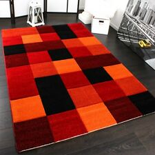 Tapis Design Carreaux Moderne Fait Main Contour Incorporée Rouge Noir Orange Mou