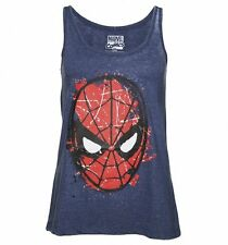 Official Women's Blue Burnout Marvel Comics Spider-Man Vest