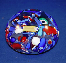 Vintage Murano Art Glass Ribbon Millefiori Colorful Multicolor Paperweight