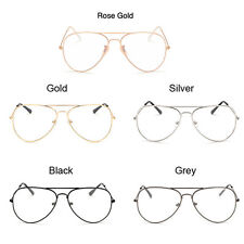 Clear Lens Aviator Glasses Fashion Pilot Metal Frame Gold Sunglasses