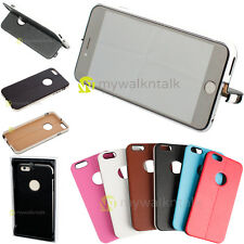 Genuine Leather Premium Thin Hard Back Snap on Case Cover Stand For Apple iPhone
