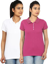 2 Combo Pack Women's Polo Collar Short Sleeve T-shirts-GSM 240 (Rs.699)