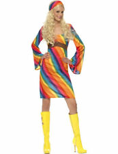 Ladies 60s 70s 1960s 1970s Rainbow Hippie Hippy Fancy Dress Costume