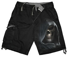 Spiral Direct DARKNESS, Vintage Cargo Shorts Black|Skulls|Reaper|Death|Skeleton