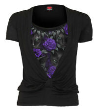 Spiral Direct THE WATCHERS, Allover 2in1 Gathered Knot Short Sleeve|Cat|Rose