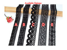 Pretty BLACK 100% Cotton Crochet Scalloped Floral Lace Trim (3.5cm~4.5cm) — 1 M