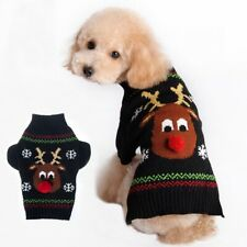 Black Pet Dog Reindeer Knitwear Jumper Sweater Clothes Coat Apparel 5 Sizes