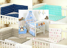 BLUE TEDDY BABY BEDDING SET COT OR COT BED - COVERS BUMPER CANOPY BLANKET