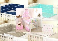 PINK TEDDY BABY BEDDING SET COT OR COT BED - COVERS BUMPER CANOPY BLANKET+ more