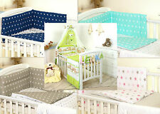 GREEN TEDDY BABY BEDDING SET COT OR COT BED - COVERS BUMPER CANOPY BLANKET+ more