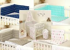 Pink STARS/GREY BABY BEDDING SET COT OR COT BED - COVERS BUMPER CANOPY BLANKET