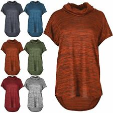 Womens Oversized Baggy Roll Cowl High Neck Top Ladies Marl Effect High Low Top
