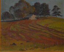 Leonard Hugh Long (1911-2013) Australian Cattle Station Oil on Board Signed Date