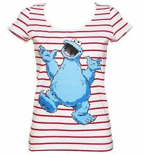 Official Women's Sesame Street Cookie Monster Striped Scoop Neck T-Shirt