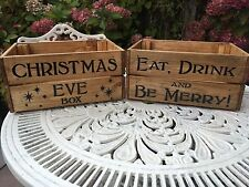 Vintage Style Wooden Christmas Eve Box Eat Drink Merry Wine Crate Box Storage